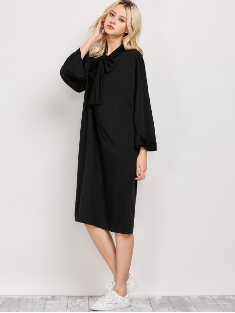 buy Wide Sleeve Pussy Bow Dress with Pocket - BLACK XL Mobile