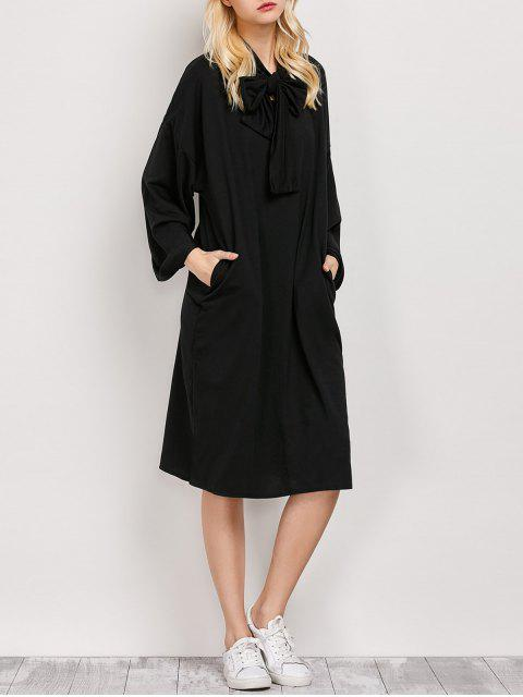 women's Wide Sleeve Pussy Bow Dress with Pocket - BLACK S Mobile