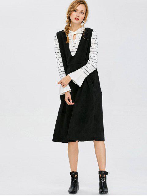 sale Plunging Neck Suspender Dress - BLACK XL Mobile