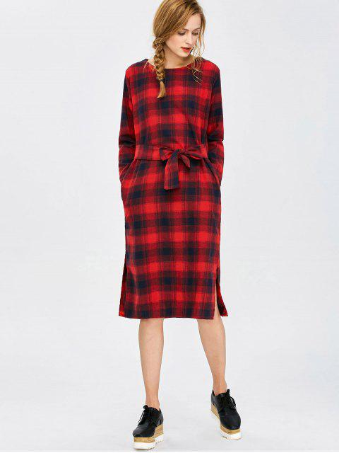 hot Self Tie Slit Checked Dress - PLAID L Mobile