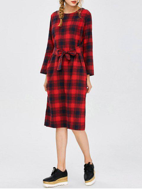outfit Self Tie Slit Checked Dress - PLAID M Mobile