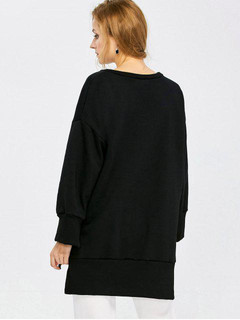 shop Slit High Low Sweatshirt - BLACK L Mobile