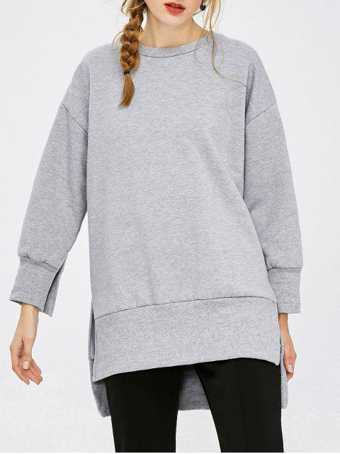 new Slit High Low Sweatshirt - GRAY XL Mobile