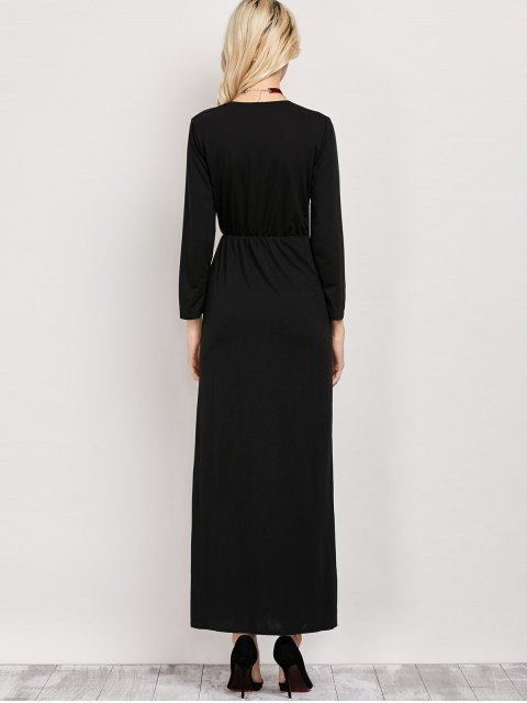 affordable Long Sleeve Maxi Plunge Dress with Slit - BLACK L Mobile