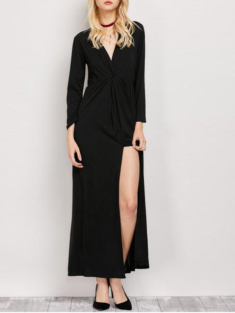 womens Long Sleeve Maxi Plunge Dress with Slit - BLACK S Mobile