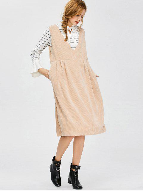 womens Plunging Neck Suspender Dress - KHAKI XL Mobile