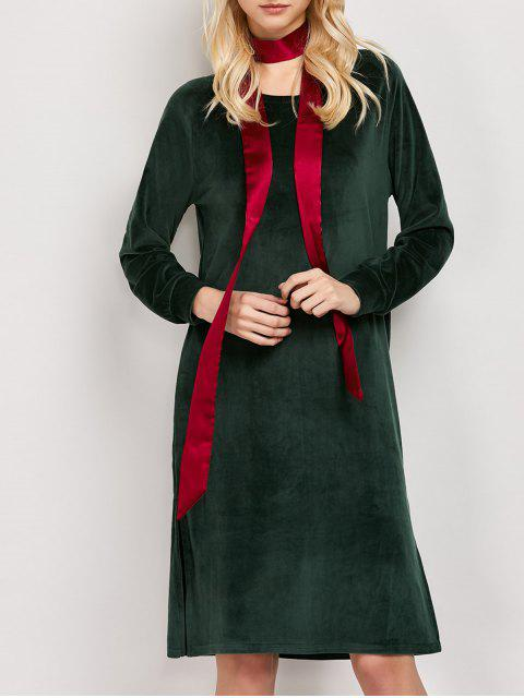 lady Side Slit Velvet Tunic Dress - GREEN L Mobile