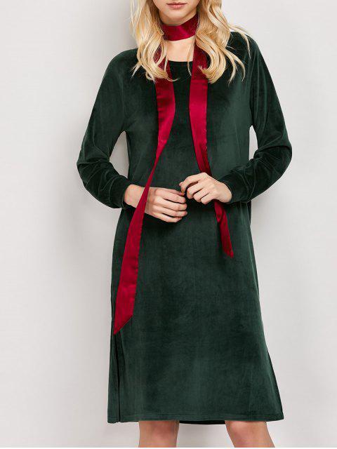 online Side Slit Velvet Tunic Dress - GREEN S Mobile