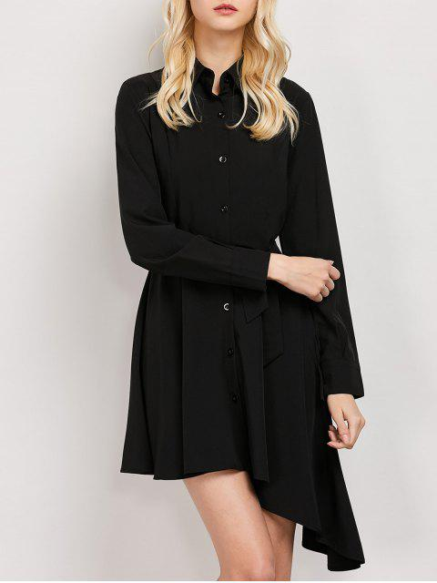 hot Tie Belt Asymmetric Shirt Dress - BLACK L Mobile