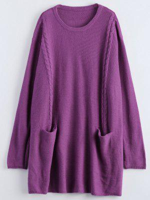 Oversized Cable Jumper Dress - Purple