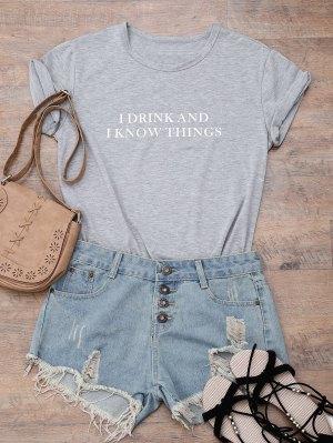 Short Sleeve Letter Boyfriend T-Shirt - Gray S