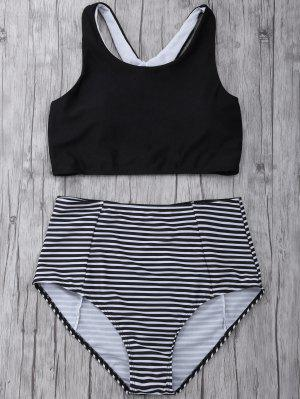 Striped High Waisted Bikini Set - Black S