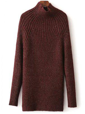 Tight Raglan Sleeve Ribbed Sweater - Burgundy