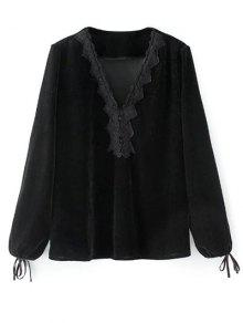Long Lantern Sleeve Velvet Blouse - Black S
