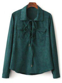 Faux Suede Lacing Pussy Bow Blouse - Deep Green S