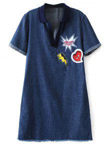 Patch Design Frayed Jean Dress - Denim Blue S
