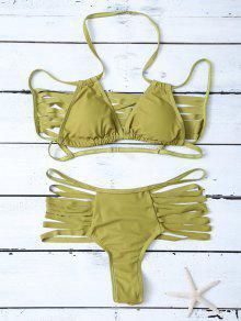 High Leg Strappy Cutout Bikini Set - Green M