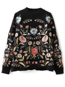 Buy Floral Embroidered Sweater - BLACK ONE SIZE