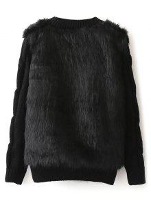 Faux Fur Cable Knit Sweater BLACK: Sweaters ONE SIZE | ZAFUL