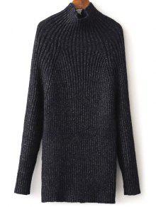 Tight Raglan Sleeve Ribbed Sweater - Purplish Blue