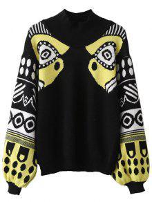 Buy Lantern Sleeve Patterned Sweater - BLACK ONE SIZE