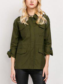 Pockets Turndown Collar Utility Jacket - Army Green Xs