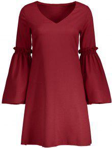 Flare Sleeve V Neck Shift Dress - Red S