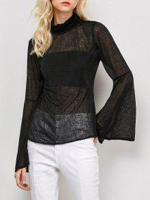 Flare Sleeve See-Through T-Shirt - Black L