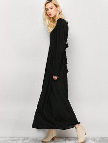 e2bacda122ff 2019 Long Sleeve Open Back Maxi Dress In BLACK XL | ZAFUL