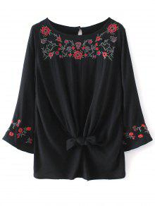 Buy Floral Embroidered Knotted Blouse - BLACK S
