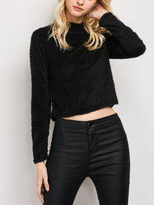 High Neck Fuzzy Cropped T-Shirt - Black M