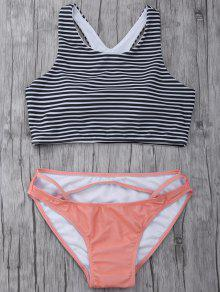 Striped High Neck Cutout Bikini Set - Orangepink S