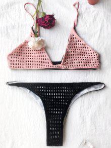 Laser Cut Plunge Cami Bikini - Black And Pink Xl