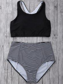 Rayas De Talle Alto Set Bikini - Negro M