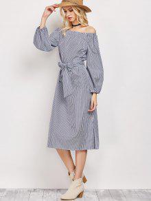 Robe à Rayures Ceinturée Sans L'épaule - Bleu Et Blanc L