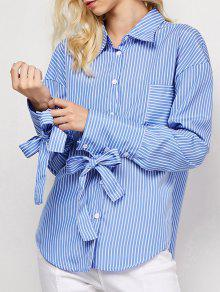 Striped O Ring Back Sleeve Tie Shirt - Blue And White S