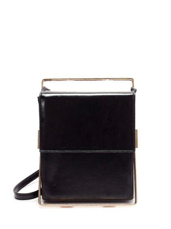 hot Metal Trimmed Minimal Crossbody Bag - BLACK