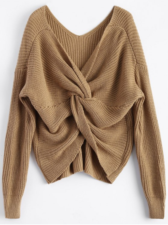 V Neck Twisted Back Sweater - Khaki
