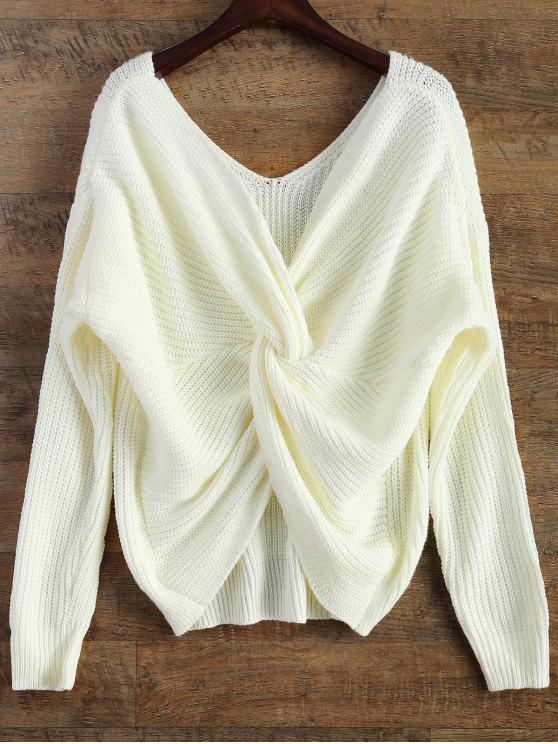 V Neck Twisted Back Sweater - White