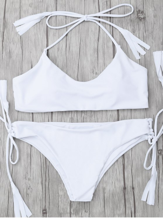 fancy Tasselled Halter Bikini Set - WHITE XL