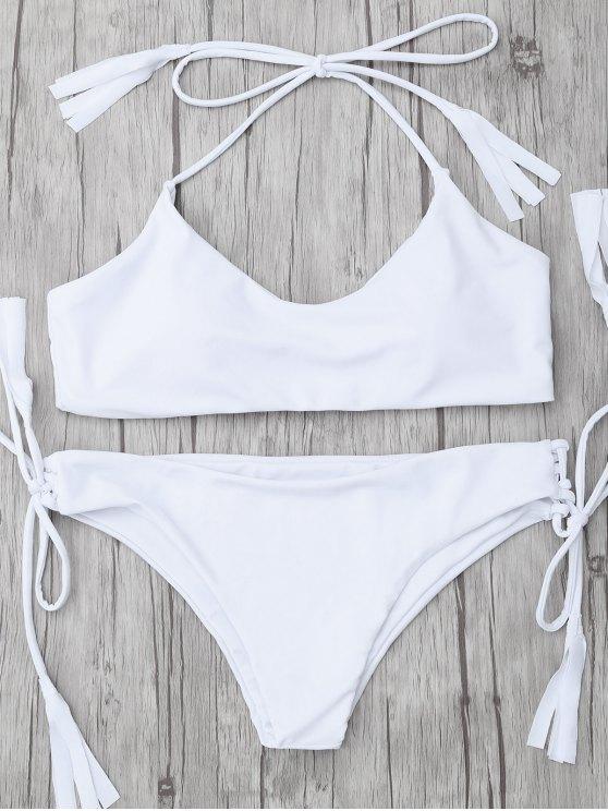 Bikini de Tirantes con Borlas - Blanco S