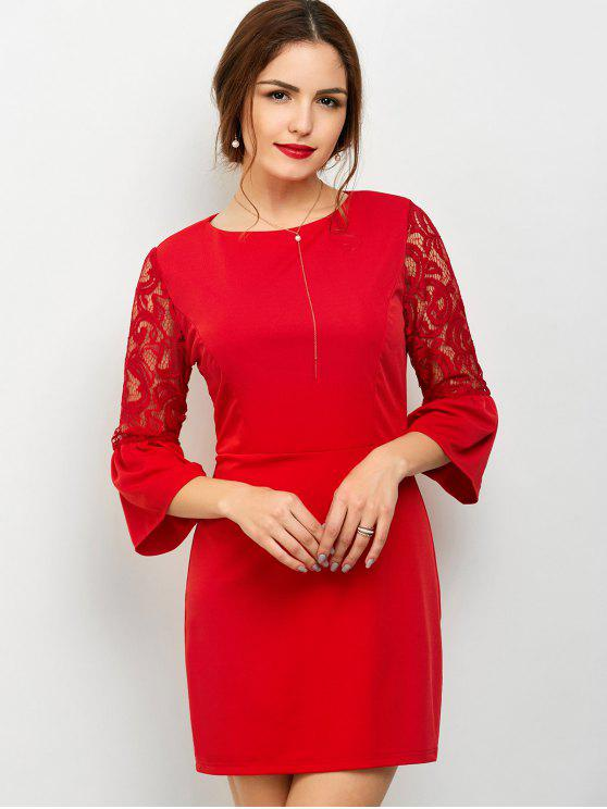 new Lace Panel Flare Sleeve Party Wear Dress For Women - RED S