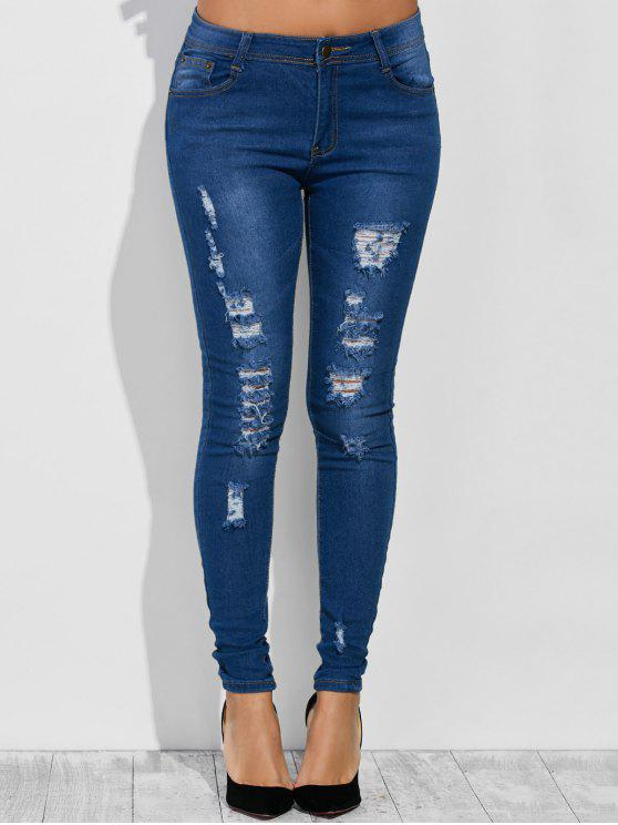 جينز عالية الخصر مهترئ - ازرق غامق S