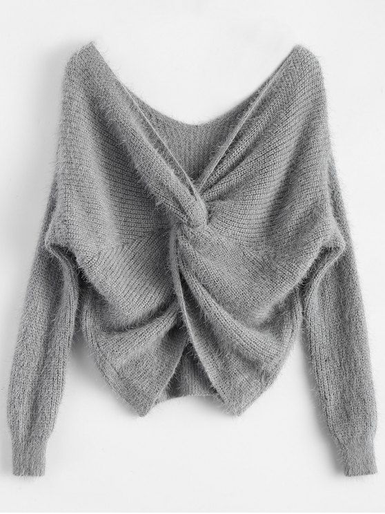 women's Fluffy Twisted Chenille Sweater - GRAY ONE SIZE