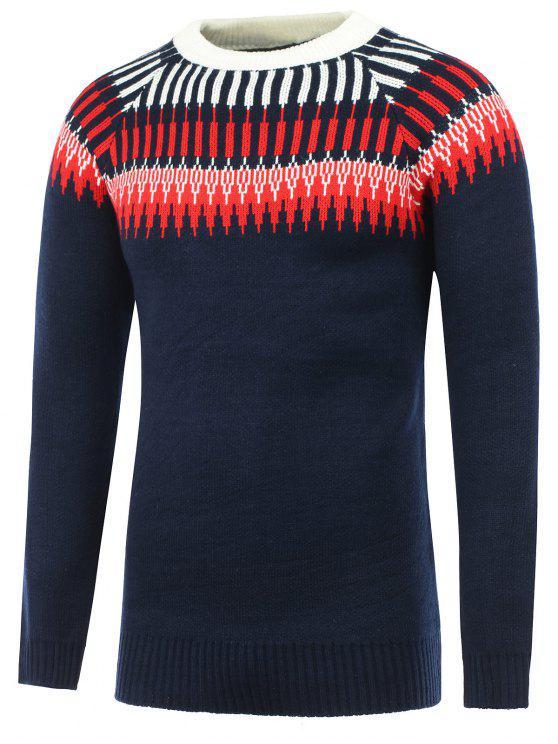 womens Crew Neck Raglan Sleeve Graphic Sweater - CADETBLUE M