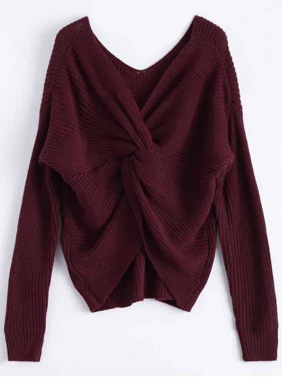 lady V Neck Twisted Back Sweater - BURGUNDY ONE SIZE