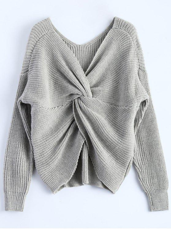online V Neck Twisted Back Sweater - GRAY ONE SIZE