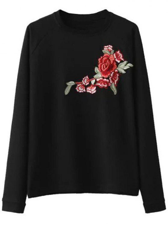 buy Floral Applique Pullover Sweatshirt - BLACK M