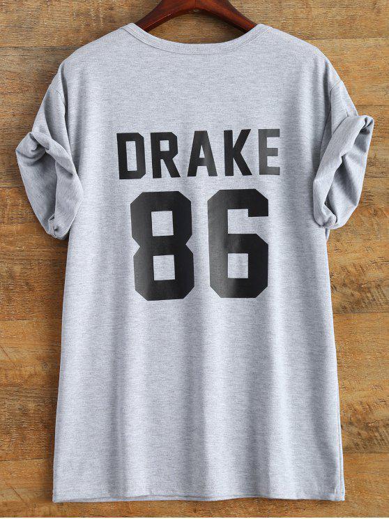 قميص شكل الرقم  86 - رمادي S