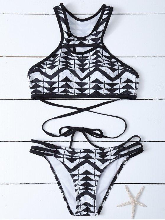 Racerback de cuello alto geométrica del bikini - Blanco y Negro S